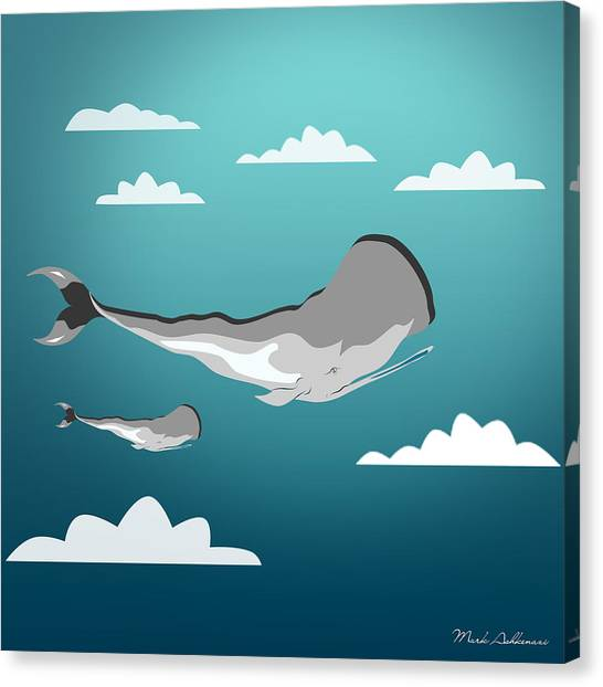 Ocean Life Canvas Print - Whale 7 by Mark Ashkenazi