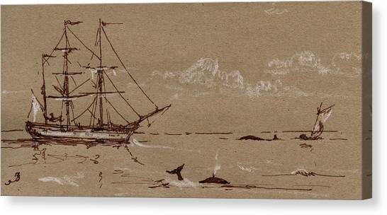 Ivory Canvas Print - Whaler Ship Frigate by Juan  Bosco