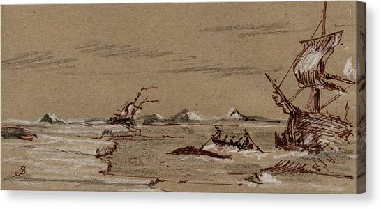 Ivory Canvas Print - Whaler Ship by Juan  Bosco