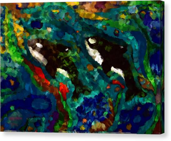 Whales At Sea - Orcas - Abstract Ink Painting Canvas Print