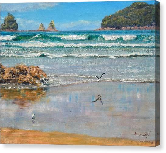 Whangamata Beach Canvas Print by Peter Jean Caley