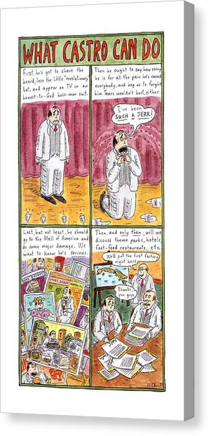 Fast Food Canvas Print - What Castro by Roz Chast