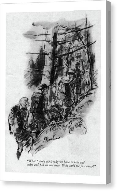 Boy Scouts Canvas Print - What I Don't See Is Why We Have To Hike And Swim by Perry Barlow