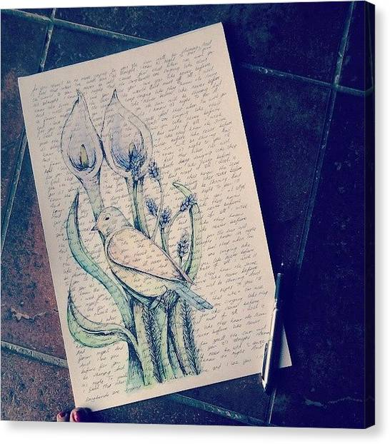 Songbirds Canvas Print - What I've Been Up To This Afternoon by Coral-Leigh Stuart-deLange