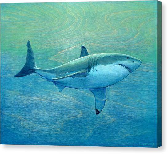 Sharks Canvas Print - What Lurks Below by Nathan Ledyard