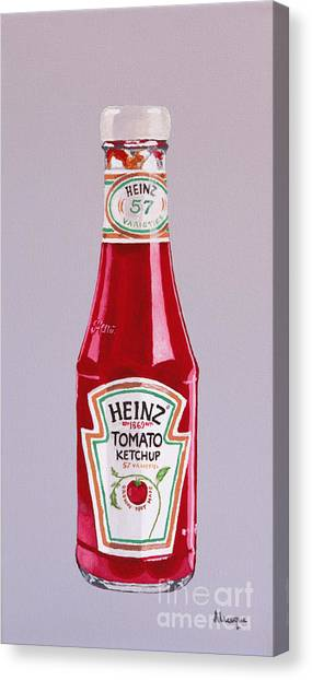 Ketchup Canvas Print - What No Chips by Alacoque Doyle