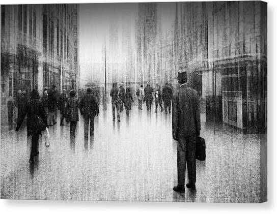 Charcoal Canvas Print - What's Going On Inside Of The City? by Roswitha Schleicher-schwarz