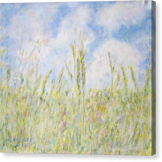 Wheat Field And Wildflowers Canvas Print