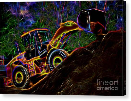 Wheel Loader Moving Dirt - Neon Canvas Print