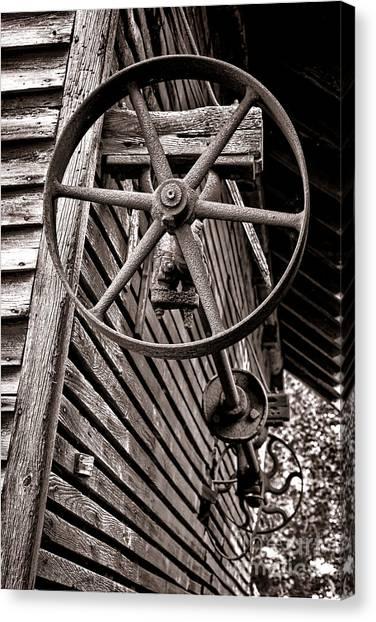 Corn Crib Canvas Print - Wheel Of Labor  by Olivier Le Queinec
