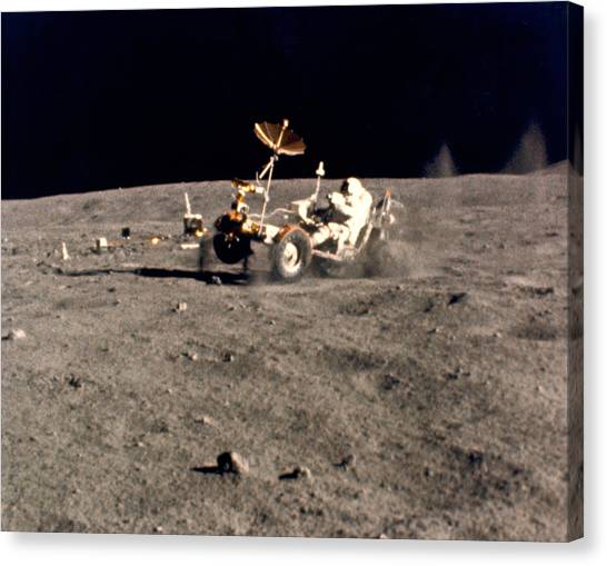 Space Suit Canvas Print - Wheelie On The Moon by Underwood Archives