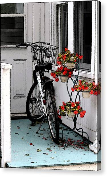 Wheels And Flowers Canvas Print