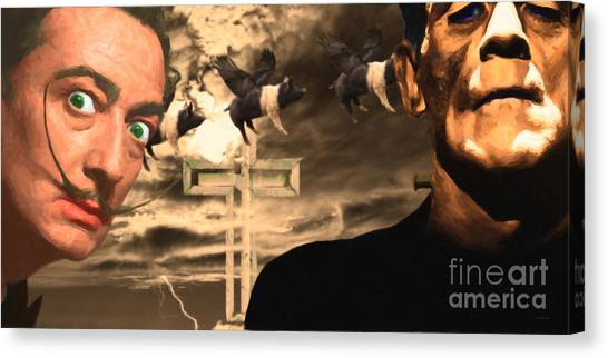 Dada Art Canvas Print - When Dali Met Frankenstein 20141215 by Wingsdomain Art and Photography