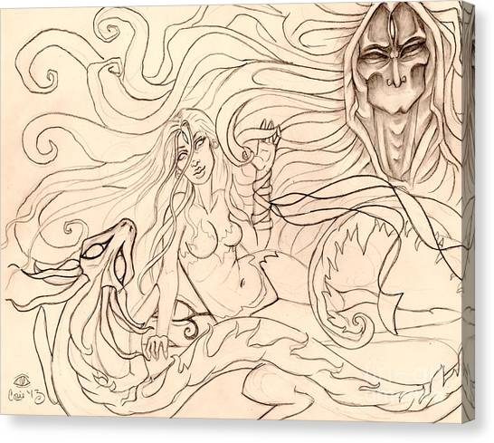 When Demons And Dragons Clash Sketch Canvas Print by Coriander  Shea