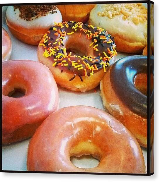 Doughnuts Canvas Print - When I Don't Run... #krispykreme by Dave Moreno