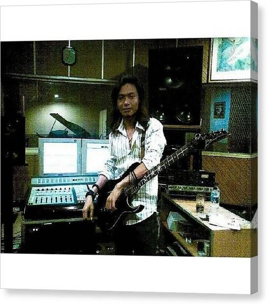 Speakers Canvas Print - When I Was Recording In Musica Studio by Dave Alviorazi