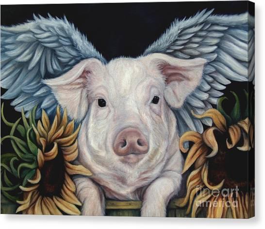 Pig Farms Canvas Print - When Pigs Fly by Lorraine Davis Martin