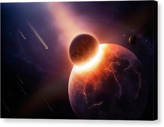 Flames Canvas Print - When Planets Collide by Johan Swanepoel
