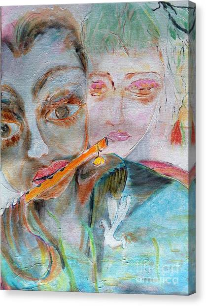 When She Fall In Love With The Vagabond Flute Player Canvas Print