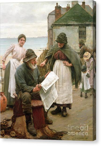 Reading The Paper Canvas Print - When The Boats Are Away by Walter Langley