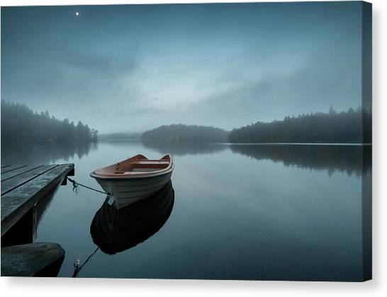 Pier Canvas Print - When The Day Wakes by Benny Pettersson