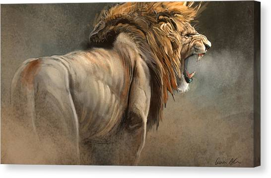 Lions Canvas Print - When The King Speaks by Aaron Blaise