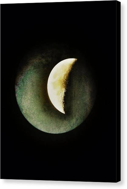 Half Life Canvas Print - When The Moons Collide by Marianna Mills