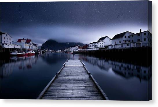 Pier Canvas Print - When The Night Comes Falling From The Sky by Lior Yaakobi