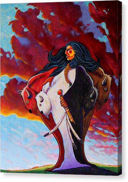When The White Buffalo Woman First Appeared Canvas Print by Joe  Triano