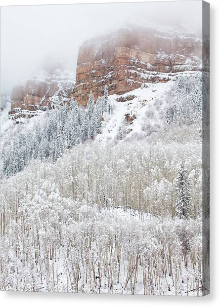 Snow Bank Canvas Print - When Winter Falls by Darren  White