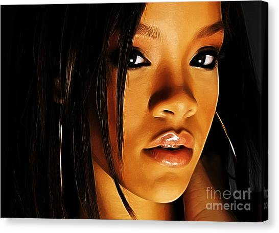 Rihanna Canvas Print - When Words Fail... by The DigArtisT