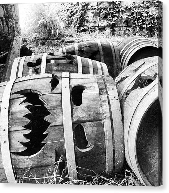 Wine Barrels Canvas Print - Where All The Old #barrels Go To Have by Reggie Williams