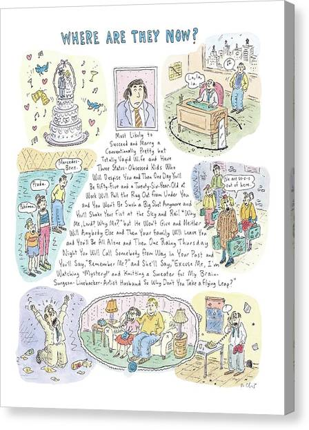 High School Canvas Print - 'where Are They Now?' by Roz Chast