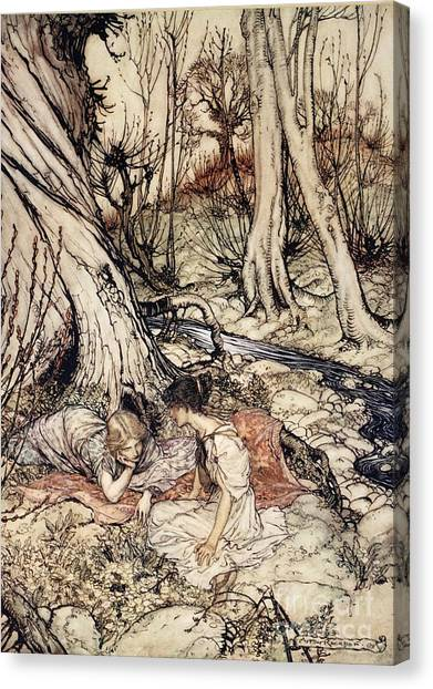 Shakespeare Canvas Print - Where Often You And I Upon Fain Primrose Beds Were Wont To Lie by Arthur Rackham