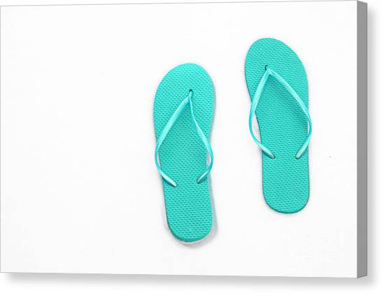 Andee Design White Canvas Print - Where On Earth Is Spring - My Aqua Flip Flops Are Waiting by Andee Design