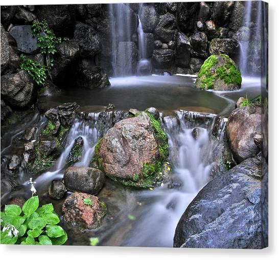 Japanese Gardens Canvas Print - Where The Flower Fairies Live by Deborah Rahn Stannard