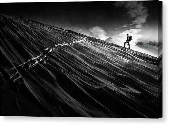 Skiing Canvas Print - Where The Trail End? by Sandi Bertoncelj
