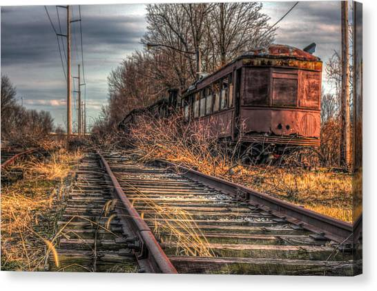 Where Trains Go To Die Canvas Print by Gary Fossaceca