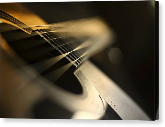 Acoustic Guitars Canvas Print - While My Guitar Gently Weeps by Laura Fasulo