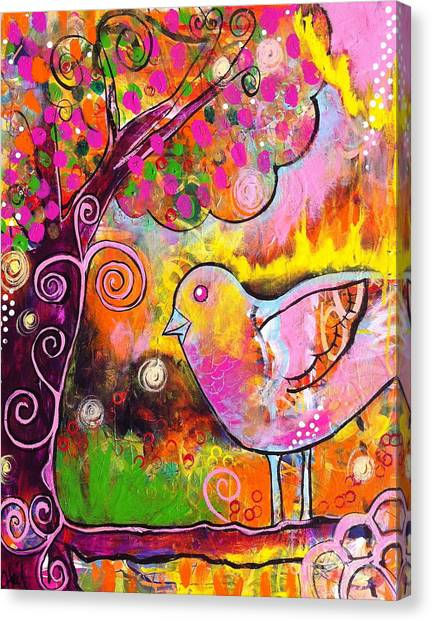 Whimsical Bird On A Branch Canvas Print