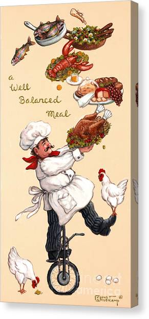 Salad Dressing Canvas Print - Whimsical Chef Well Balanced Meal by Janet  Kruskamp