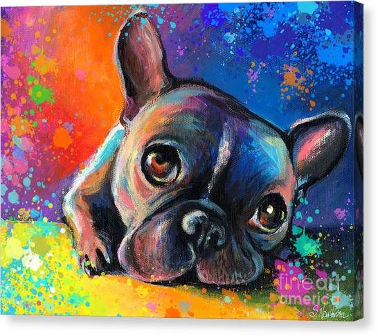Humor Canvas Print - Whimsical Colorful French Bulldog  by Svetlana Novikova