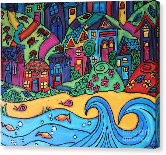 Whimsical Town Sectional  Canvas Print