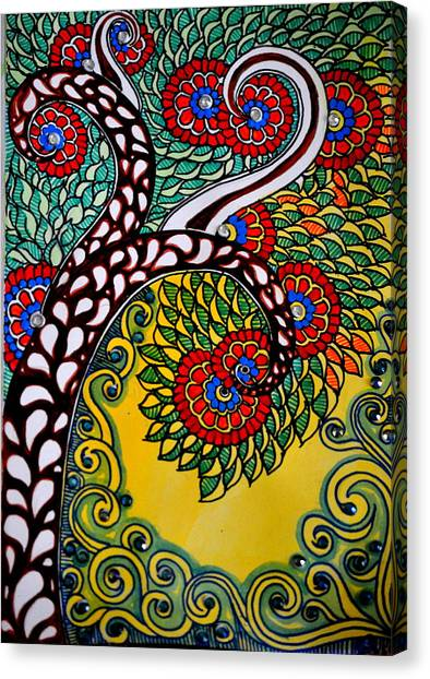 Madhubani Canvas Print - Whimsical Tree by Deepti Mittal
