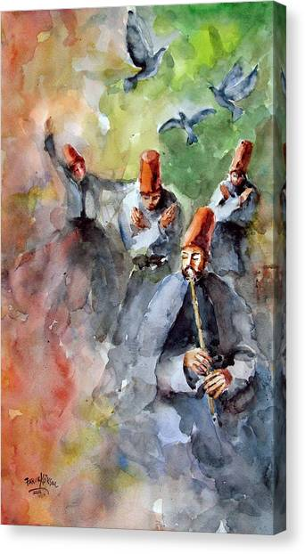 Whirling Dervishes And Pigeons         Canvas Print