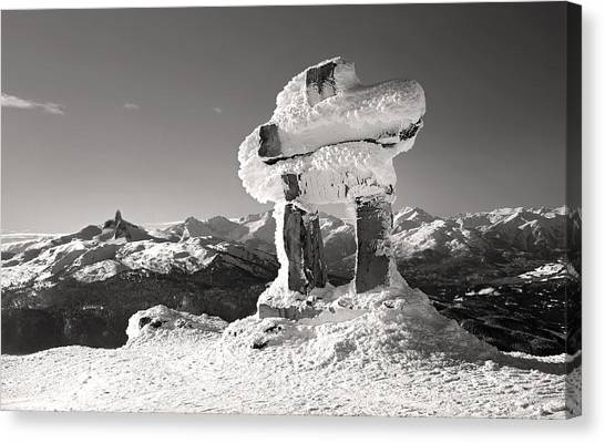 Whistler Summit Inukshuk Black And White Canvas Print