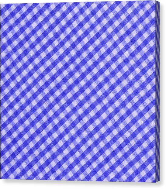 Checkered Tablecloth Canvas Print   White And Blue Checkered Design Fabric  Background By Keith Webber Jr