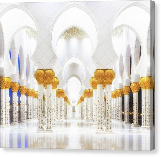 Mosques Canvas Print - White And Gold by Mohamed Raof