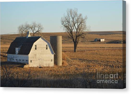 White Barn With Silo Canvas Print