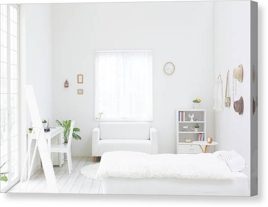 White Bedroom Canvas Print by Bloom Image